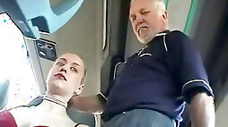Shy nymph with breasts gets groped by guys on a bus