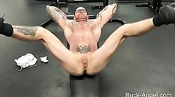 Muscled tattooed transman Buck Angel works out in the gym naked SOLO