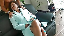 Big tits milf chick blowjobs big dick before riding with hairy pussy