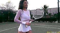 Stunning tennis chick Jessica Torres rides hard black dick reverse and face to face