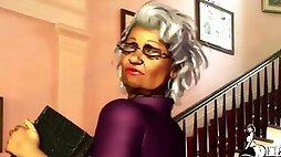 Son and old mom 3d