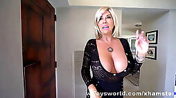 MILF masturbating With ample bra stuffers fellates Off And Swallows Her Roofer