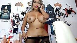 Curvy latina with tits hairy bush