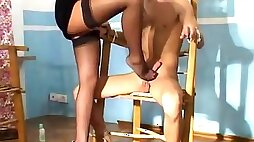 Blindfold tied up sub gets sucked a femdom cock riding