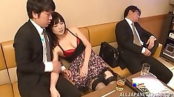 Gorgeous Japanese babe in fishnet stockings getting pussy jammed doggy style