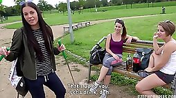 Three Girls Share Dick In Public point of view