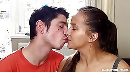 Super girlfriend is getting her soft pussy licked by her handsome boyfriend on the sofa