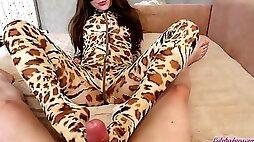 Teen Blowjob Big Dick and Footjob in Leopard Costume Cumshot POV
