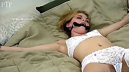 Hannah Hays got tied up by a kinky guy who just wanted to see her in lingerie