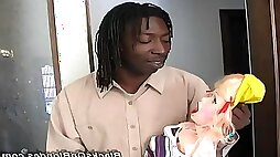 Lucky black guy fuck real leggy blonde Angel Long instead of his sex doll interracial anal