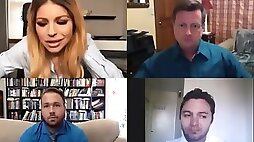 Huge round tits employee Brooklyn Chase did not know it was a video chat