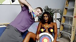 With her big natural tits topped by big brown puffy nipples ebony teen Lola Chanels boobs are already a perfect set of targets for jizz and Brick Danger helps them out by painting them with actual bulls eyes