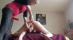 Dominant Granny Strapon Pegging Her Submissive Hubby