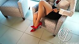 My MILF boss wants cock pantyhose stiletto high heels fetish lets fuck in the office!