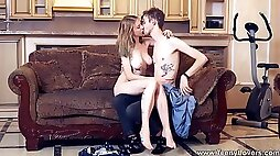 Slim teenage sexpot gives it all to her enthusiastic lover