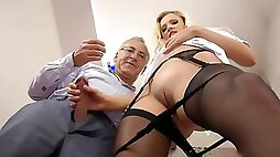 Blonde in black stockings anal strapon fuck with hot mature guy