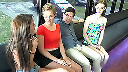Freaky dude is going to fuck three lesbian chicks in a train