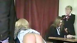 Schoolgirls spanked in the classroom