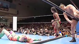 Asian female wrestler gets fucked hard on the stage
