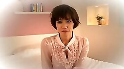 Adorable Japanese girl is doing casting interview