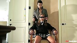Blind folded babe Ella Milano is fucked by horny and hot blooded step brother