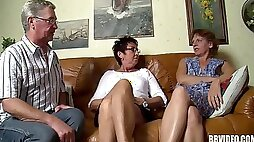 Grandpa and two grannies go crazy in a really old threesome