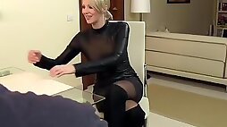 Sexy Wife fucked in Leather and cum on clothes