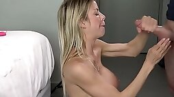Horny MILF love sex with huge round tits and gets sprayed with cum