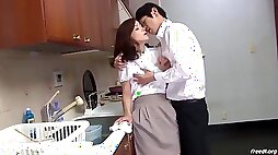 Sultry Japanese mommy Nailed While Trying to Do Dishes