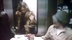 Strangers have fun with gorgeous women in the train