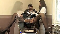 Hungry Wet Couple Pussys On A Gynecologist Chair Visiting