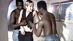 White whore wife gives eager blowjob to a duo of big black dudes