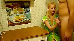 Blonde Wife gets Fucked At Kitchen Table