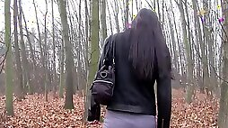 Nerd slut her ass fucked and facialed in the woods for a wad of cash