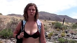 On her Knees Sucking on a Cock in Public at the River Student Blows Older Guy Lavender Joy