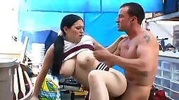 Old school huge boob cheer fucks the janitor