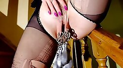 Blonde in high heels stretches pussy play with piercings