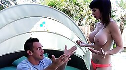 Topless swiming ends in anal poolside fuck with a mouthful for Eva Karera