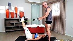 Fit yoga MILF Syren De Mer rides a hard big cock in pantyhose