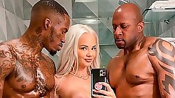 Young blonde Elsa Jean gets double teamed by black monster cocks