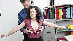 An innocent curly haired chick Lyra Lockhart fucks pussy with a guard