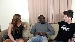 Bad wife Chrissy Curves is fucking a black man while her horny husband watching