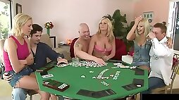 Poker game turns into an amazing orgy session with cock craving blondes