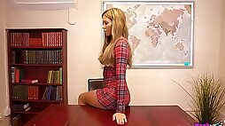 Astonishing pale blond head Natalia Forrest has a glass toy for her anus