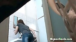 Very beautiful white ass of a stranger girl in tight jeans