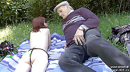 Pretty first timer youthful french redhead boinked by oldman voyeur outdoor