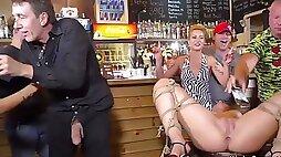 Naked serbian slut pissing in public bar