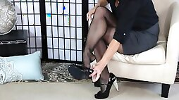 Glossy Pantyhose Sexy Legs and Feet Tease SweetsTreats Leg Show and Foot Fetish Series