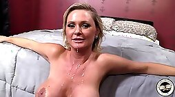 Busty amateur blonde mom Allison Kilgore strokes her big boobs in the shower