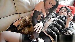 Smoking Fetish Lesbians kissing FF nylons furs stilettos